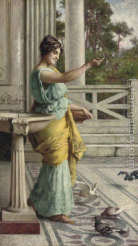 Feeding the pigeons by Guglielmo Zocchi - Reproduction Oil Painting