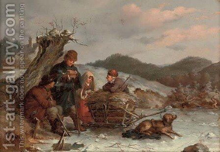 A rest on the way, Winter by Guido Bach - Reproduction Oil Painting