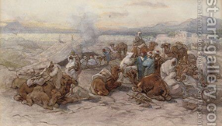 An Arab encampment by Guido Bach - Reproduction Oil Painting