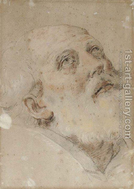 Saint Petronius looking up to the right by Guido Reni - Reproduction Oil Painting