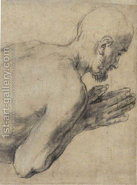 Study of a praying man, bust-length, in profile to the right by Guido Reni - Reproduction Oil Painting