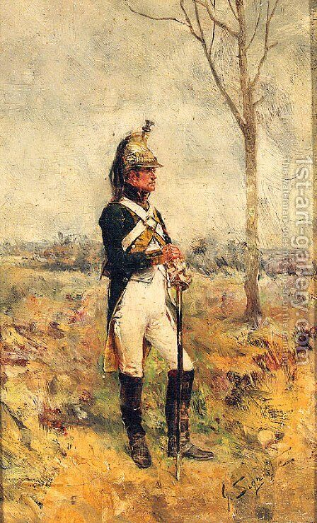 A Cavalry Officer by Guido Sigriste - Reproduction Oil Painting