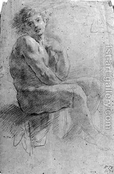 A seated nude by Guglielmo Cortese (see COURTOIS, Guillaume) - Reproduction Oil Painting