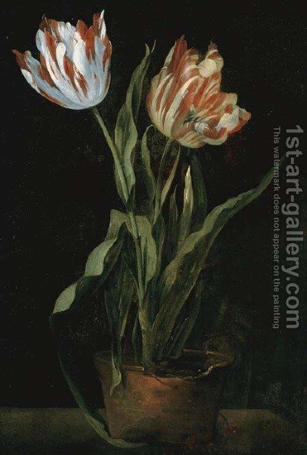 Still life with two variegated tulips in a clay pot by Guillaume-Thomas-Raphael Taraval - Reproduction Oil Painting