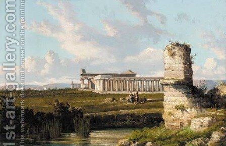 The Gulf of Naples from Posillipo; and The three temples of Paestum by Giuseppe Carelli - Reproduction Oil Painting