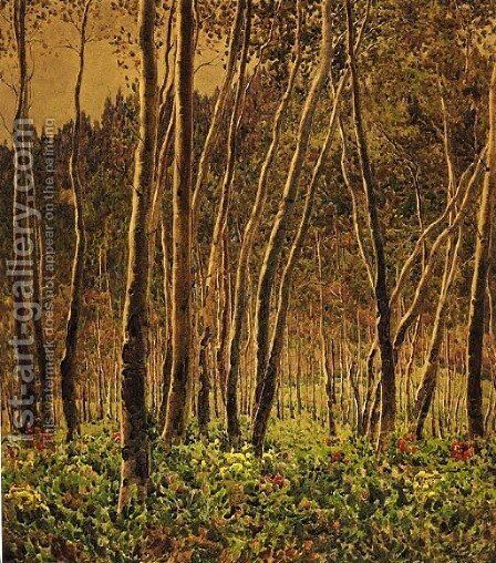Sunlit Birches by Gunnar Mauritz Widforss - Reproduction Oil Painting