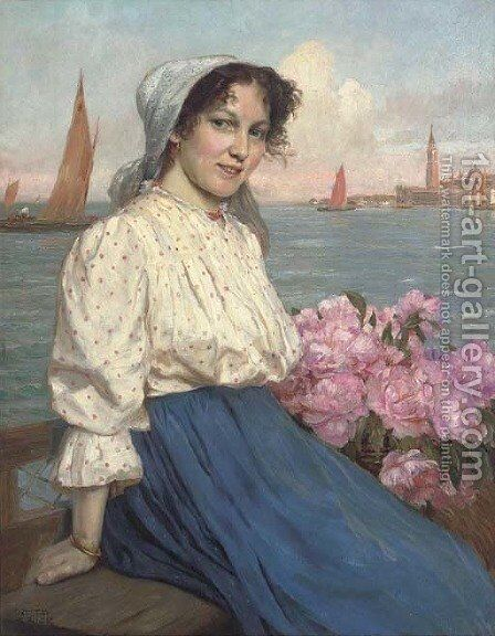 A maiden on the Lagoon, Venice by Gustave Bauernfeind - Reproduction Oil Painting