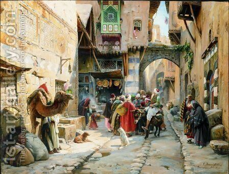 A Street Scene, Damascus by Gustave Bauernfeind - Reproduction Oil Painting
