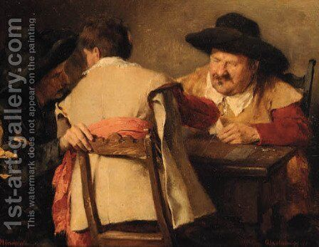 A game of cards by Gustav Holweg - Reproduction Oil Painting