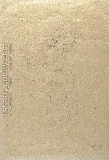 Seated woman holding her head in her hands by Gustav Klimt - Reproduction Oil Painting