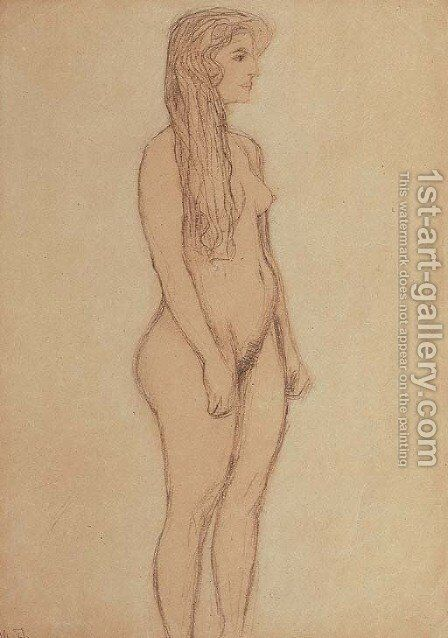 Stehender Machenakt im Profil nach rechts by Gustav Klimt - Reproduction Oil Painting