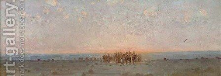 An Arab caravan at dusk by Gustave Achille Guillaumet - Reproduction Oil Painting