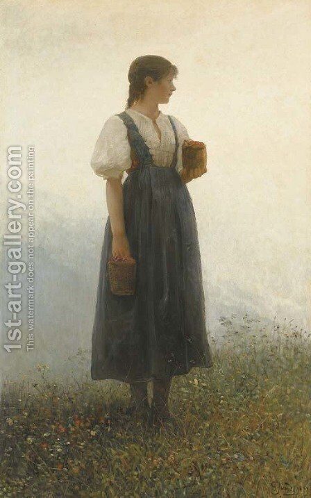 Far Away Thoughts by Gustave Adolf Jundt - Reproduction Oil Painting
