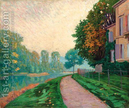 Bord de riviere, effet de brume matinale by Gustave Caillebotte - Reproduction Oil Painting
