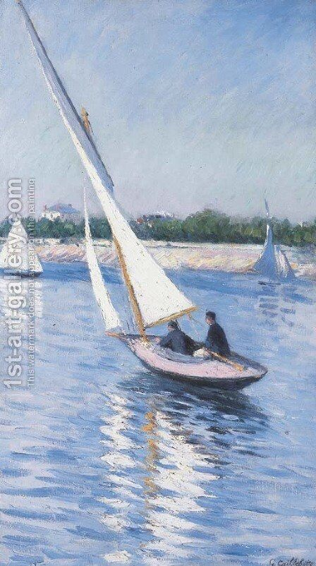 Voiliers sur la Seine aA  Argenteuil by Gustave Caillebotte - Reproduction Oil Painting