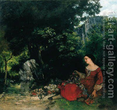 Femme  la guirlande by Gustave Courbet - Reproduction Oil Painting