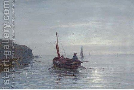 Fishing off a coastline at dusk by Gustave de Breanski - Reproduction Oil Painting