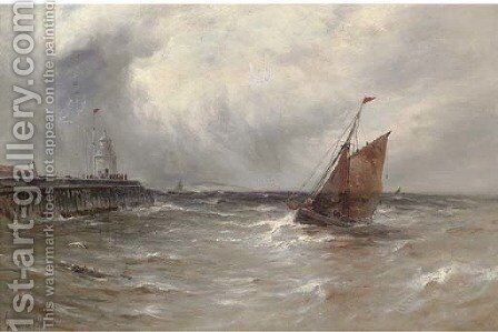 Squally weather, Gorleston Harbour by Gustave de Breanski - Reproduction Oil Painting