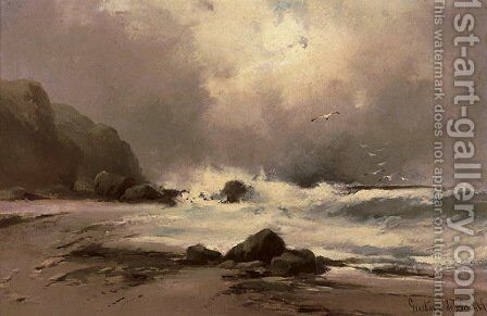 Waves against a beach by Gustave de Breanski - Reproduction Oil Painting