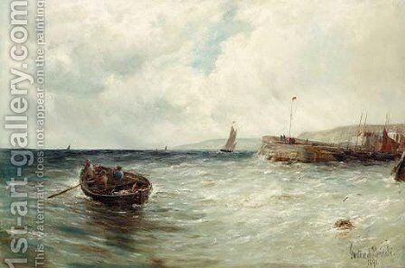 Fishing boats off a jetty by Gustave de Breanski - Reproduction Oil Painting