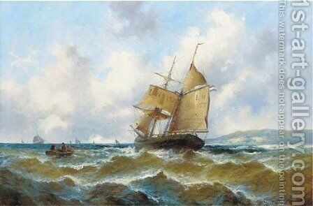 Off the French coast by Gustave de Breanski - Reproduction Oil Painting