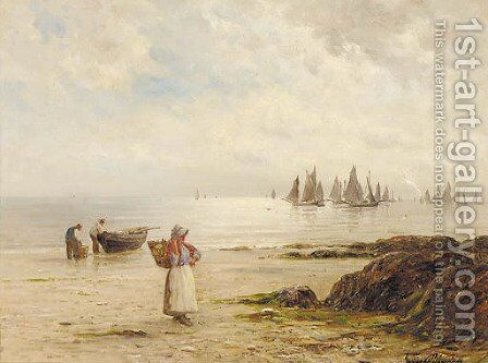 A silvery morning coast of Cornwall by Gustave de Breanski - Reproduction Oil Painting