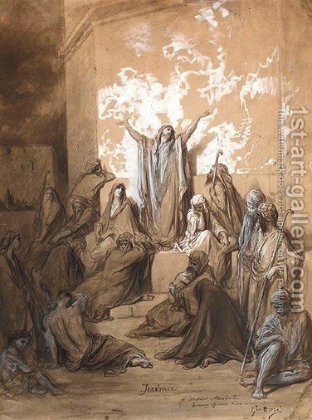 Jeremiah preaching to his Followers by Gustave Dore - Reproduction Oil Painting