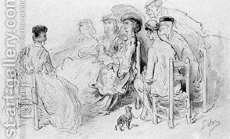An elegant company seated in a park, from the series depicting London society by Gustave Dore - Reproduction Oil Painting