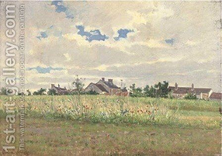 Cottages in summer pasture by Gustave Garaud - Reproduction Oil Painting