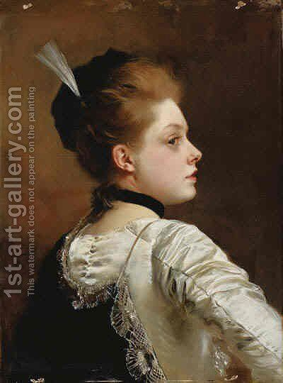 Jeune Fille by Gustave Jean Jacquet - Reproduction Oil Painting