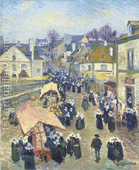 Le marche by Gustave Loiseau - Reproduction Oil Painting