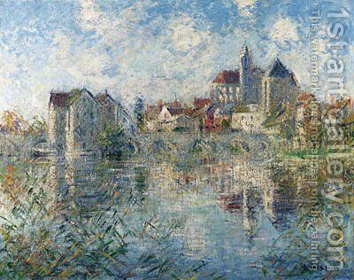 Moret-sur-Loing, le pont et l'glise by Gustave Loiseau - Reproduction Oil Painting