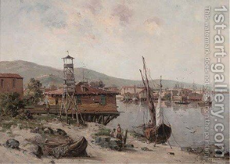 An eastern fishing village by Gustave Mascart - Reproduction Oil Painting