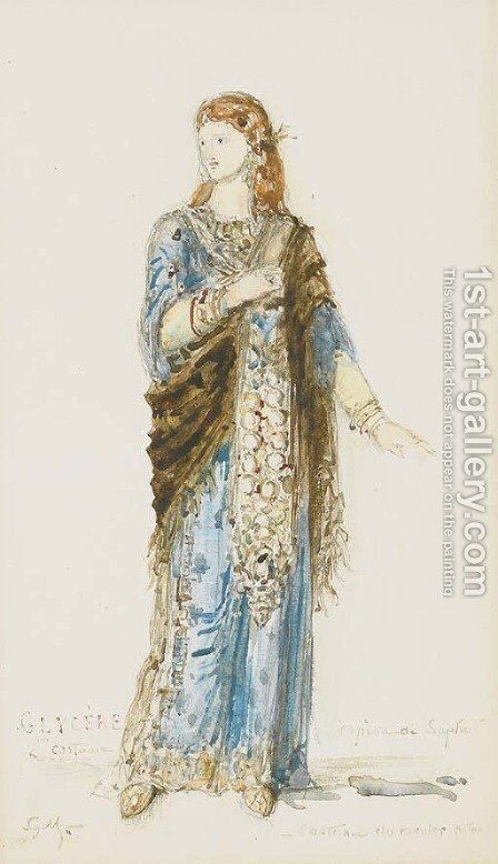 Costume design for Glycere from the final act of the opera Sapho by Charles Gounod by Gustave Moreau - Reproduction Oil Painting