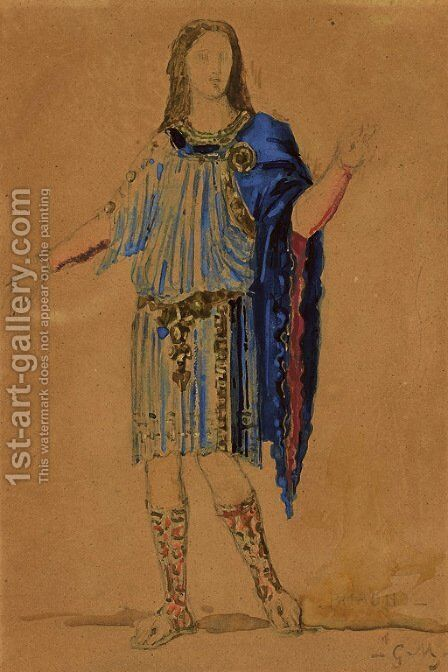 Costume design for Phaon from the opera Sapho by Charles Gounod by Gustave Moreau - Reproduction Oil Painting