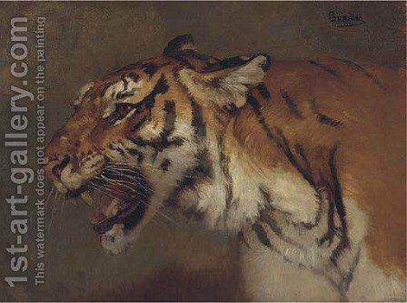 Tigre rugissant by Gustave Surand - Reproduction Oil Painting