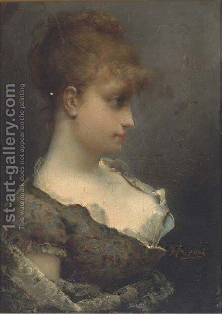 A young beauty in contemplation by Gustave Jean Jacquet - Reproduction Oil Painting