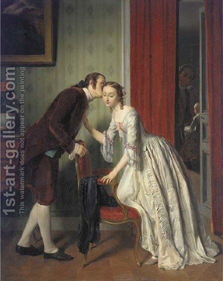 The Secret Whisper by Gustave Leonhard de Jonghe - Reproduction Oil Painting