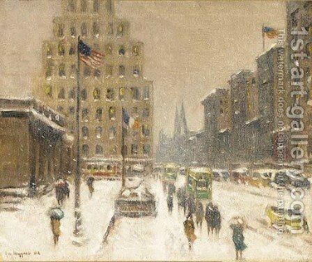 5th Ave, Midtown, Winter by Guy Carleton Wiggins - Reproduction Oil Painting