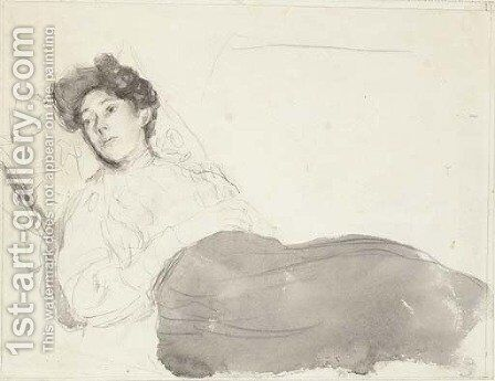 Portrait of a lady reclining by Gwen John - Reproduction Oil Painting