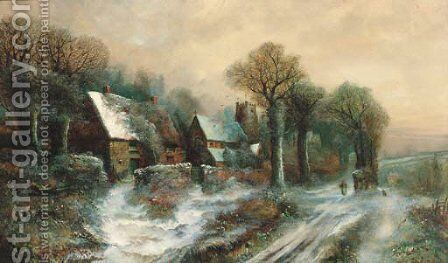 Figures in a winter village landscape by Harry Foster Newey - Reproduction Oil Painting