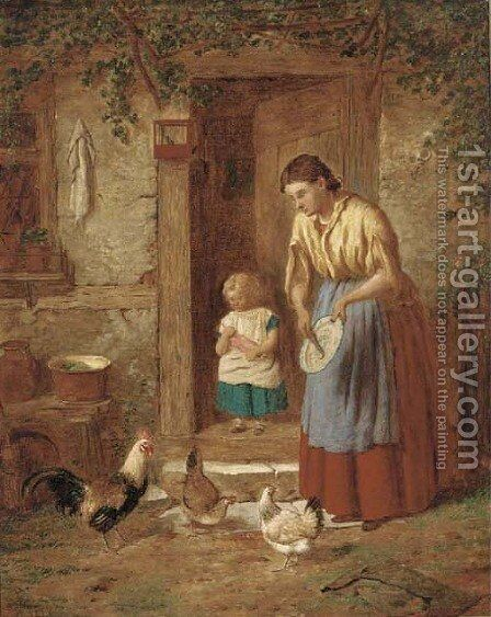 Feeding the chickens by Henry Charles Bryant - Reproduction Oil Painting