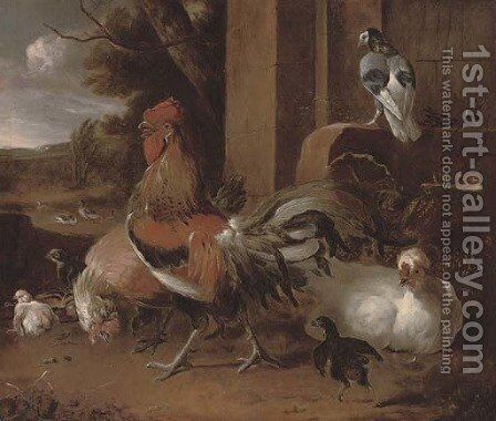 A cockerel, hens and pigeon by a wall, a landscape beyond by Melchior de Hondecoeter - Reproduction Oil Painting