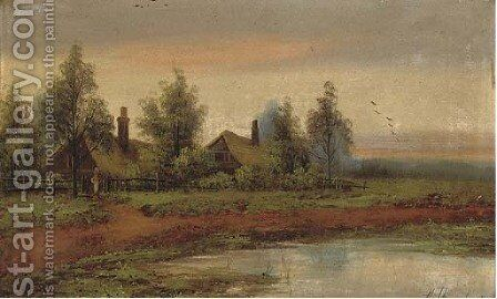 Cottages beside a pool at sunset by Hubert Thornley - Reproduction Oil Painting