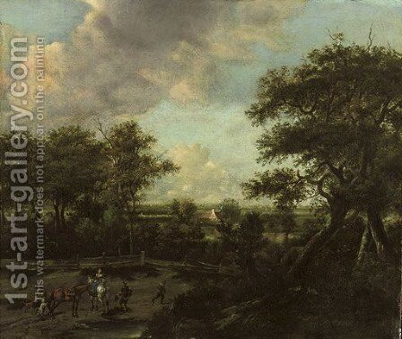 An extensive landscape with horsemen and travellers near the edge of a wood by Haarlem School - Reproduction Oil Painting