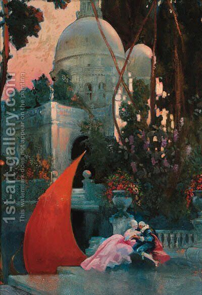 A courting couple in a garden, the S. Maria della Salute beyond by Hal Hurst - Reproduction Oil Painting