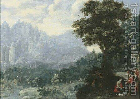 An extensive river landscape with soldiers resting by a tree, a mill and mountains beyond by Hans Bergaigne - Reproduction Oil Painting