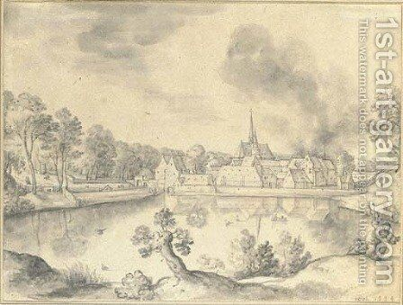 A village before a lake, with two figures in the foreground by Hans Bol - Reproduction Oil Painting