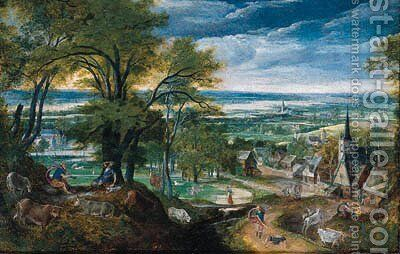 Mercury playing the flute as Argus falls asleep and Mercury slaying Argus, a village and a river valley beyond by Hans Bol - Reproduction Oil Painting