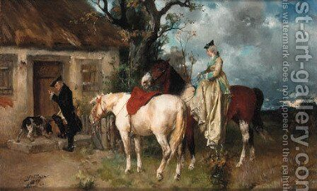 Riders at a cottage door by Hans Buttner - Reproduction Oil Painting